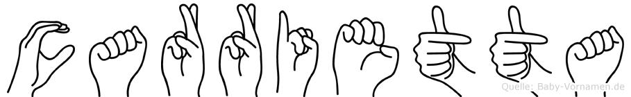 Carrietta im Fingeralphabet der Deutschen Gebärdensprache