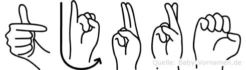 Tjure im Fingeralphabet der Deutschen Gebärdensprache