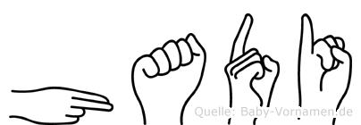 Hadi im Fingeralphabet der Deutschen Gebärdensprache