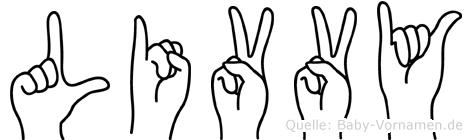 Livvy im Fingeralphabet der Deutschen Gebärdensprache