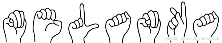Melanka im Fingeralphabet der Deutschen Gebärdensprache