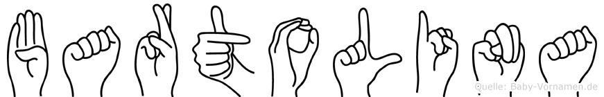 Bartolina im Fingeralphabet der Deutschen Gebärdensprache