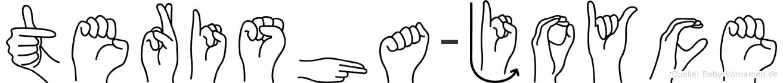 Terisha-Joyce im Fingeralphabet der Deutschen Gebärdensprache