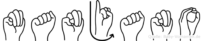 Manjano im Fingeralphabet der Deutschen Gebärdensprache