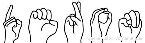 Deron im Fingeralphabet der Deutschen Gebärdensprache