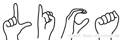 Lica im Fingeralphabet der Deutschen Gebärdensprache
