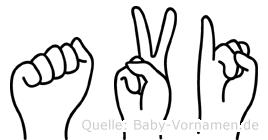 Avi im Fingeralphabet der Deutschen Gebärdensprache