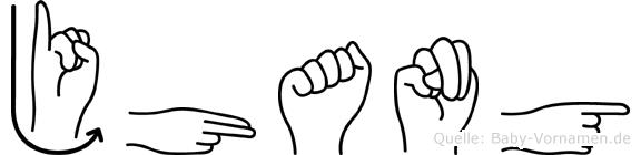 Jhang in Fingersprache für Gehörlose