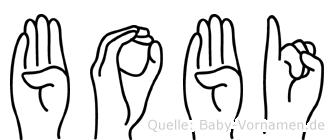 Bobi in Fingersprache für Gehörlose