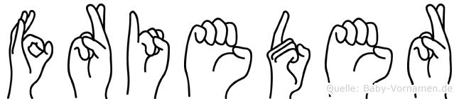 Frieder im Fingeralphabet der Deutschen Gebärdensprache
