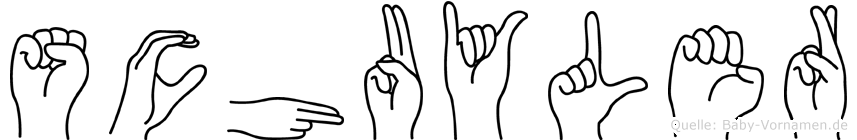 Schuyler im Fingeralphabet der Deutschen Gebärdensprache