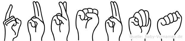 Dursuma im Fingeralphabet der Deutschen Gebärdensprache