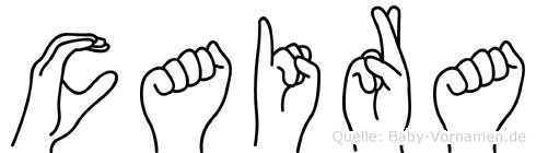 Caira im Fingeralphabet der Deutschen Gebärdensprache