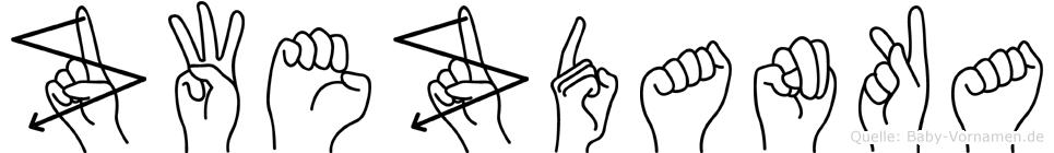 Zwezdanka im Fingeralphabet der Deutschen Gebärdensprache