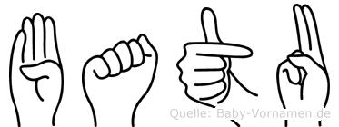 Batu im Fingeralphabet der Deutschen Gebärdensprache