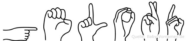 Gelord im Fingeralphabet der Deutschen Gebärdensprache