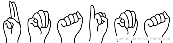 Umaima im Fingeralphabet der Deutschen Gebärdensprache
