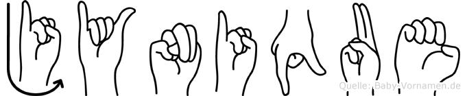 Jynique im Fingeralphabet der Deutschen Gebärdensprache