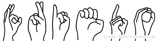 Friedo im Fingeralphabet der Deutschen Gebärdensprache