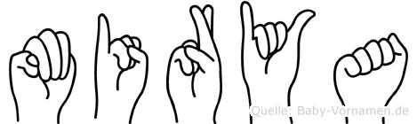 Mirya im Fingeralphabet der Deutschen Gebärdensprache