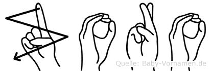 Zoro im Fingeralphabet der Deutschen Gebärdensprache