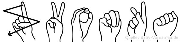 Zvonka im Fingeralphabet der Deutschen Gebärdensprache