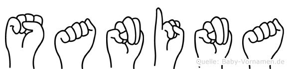 Sanina im Fingeralphabet der Deutschen Gebärdensprache