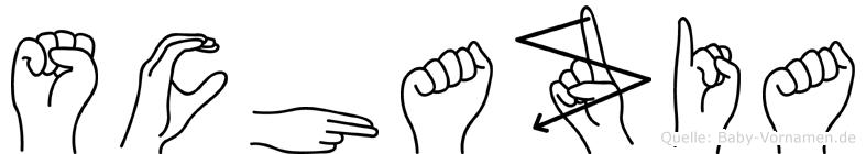 Schazia im Fingeralphabet der Deutschen Gebärdensprache