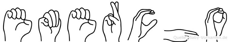 Emercho im Fingeralphabet der Deutschen Gebärdensprache