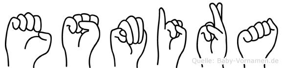 Esmira im Fingeralphabet der Deutschen Gebärdensprache