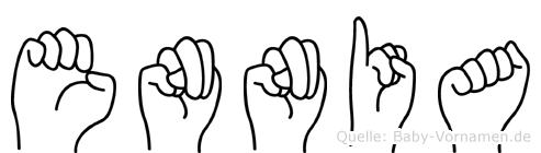Ennia im Fingeralphabet der Deutschen Gebärdensprache