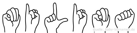 Milina in Fingersprache für Gehörlose