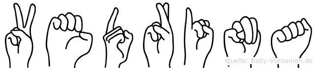 Vedrina im Fingeralphabet der Deutschen Gebärdensprache