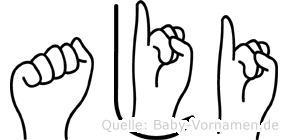 Aji im Fingeralphabet der Deutschen Gebärdensprache