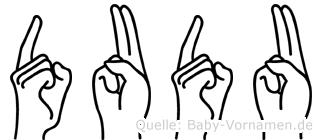 Dudu im Fingeralphabet der Deutschen Gebärdensprache
