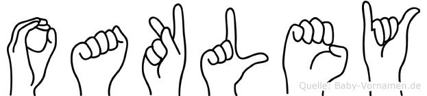 Oakley im Fingeralphabet der Deutschen Gebärdensprache