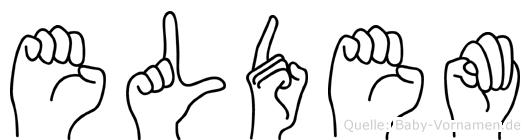 Eldem im Fingeralphabet der Deutschen Gebärdensprache