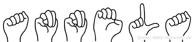 Annela im Fingeralphabet der Deutschen Gebärdensprache