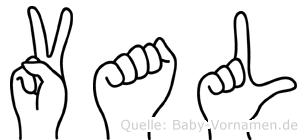Val im Fingeralphabet der Deutschen Gebärdensprache