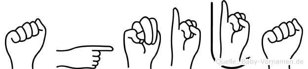 Agnija im Fingeralphabet der Deutschen Gebärdensprache