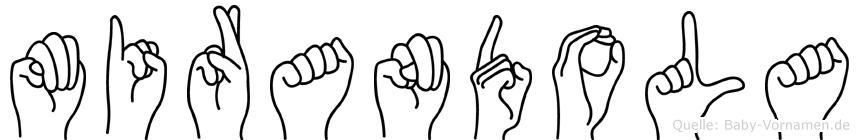 Mirandola im Fingeralphabet der Deutschen Gebärdensprache