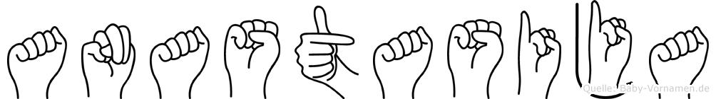 Anastasija in Fingersprache für Gehörlose