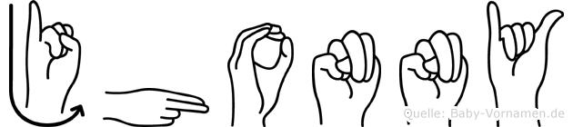 Jhonny im Fingeralphabet der Deutschen Gebärdensprache