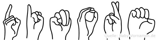 Dinore im Fingeralphabet der Deutschen Gebärdensprache
