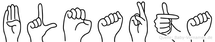 Blearta im Fingeralphabet der Deutschen Gebärdensprache