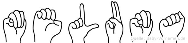 Meluna im Fingeralphabet der Deutschen Gebärdensprache