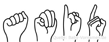 Amid im Fingeralphabet der Deutschen Gebärdensprache