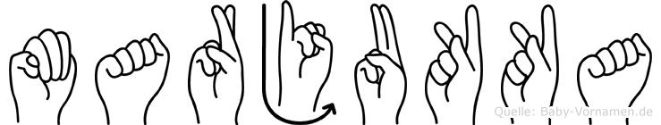 Marjukka im Fingeralphabet der Deutschen Gebärdensprache