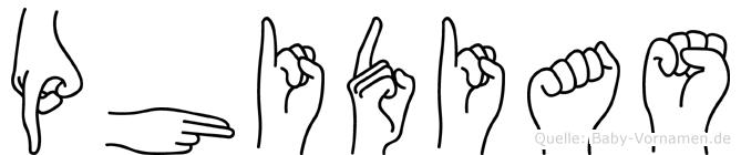 Phidias im Fingeralphabet der Deutschen Gebärdensprache