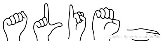 Alieh im Fingeralphabet der Deutschen Gebärdensprache